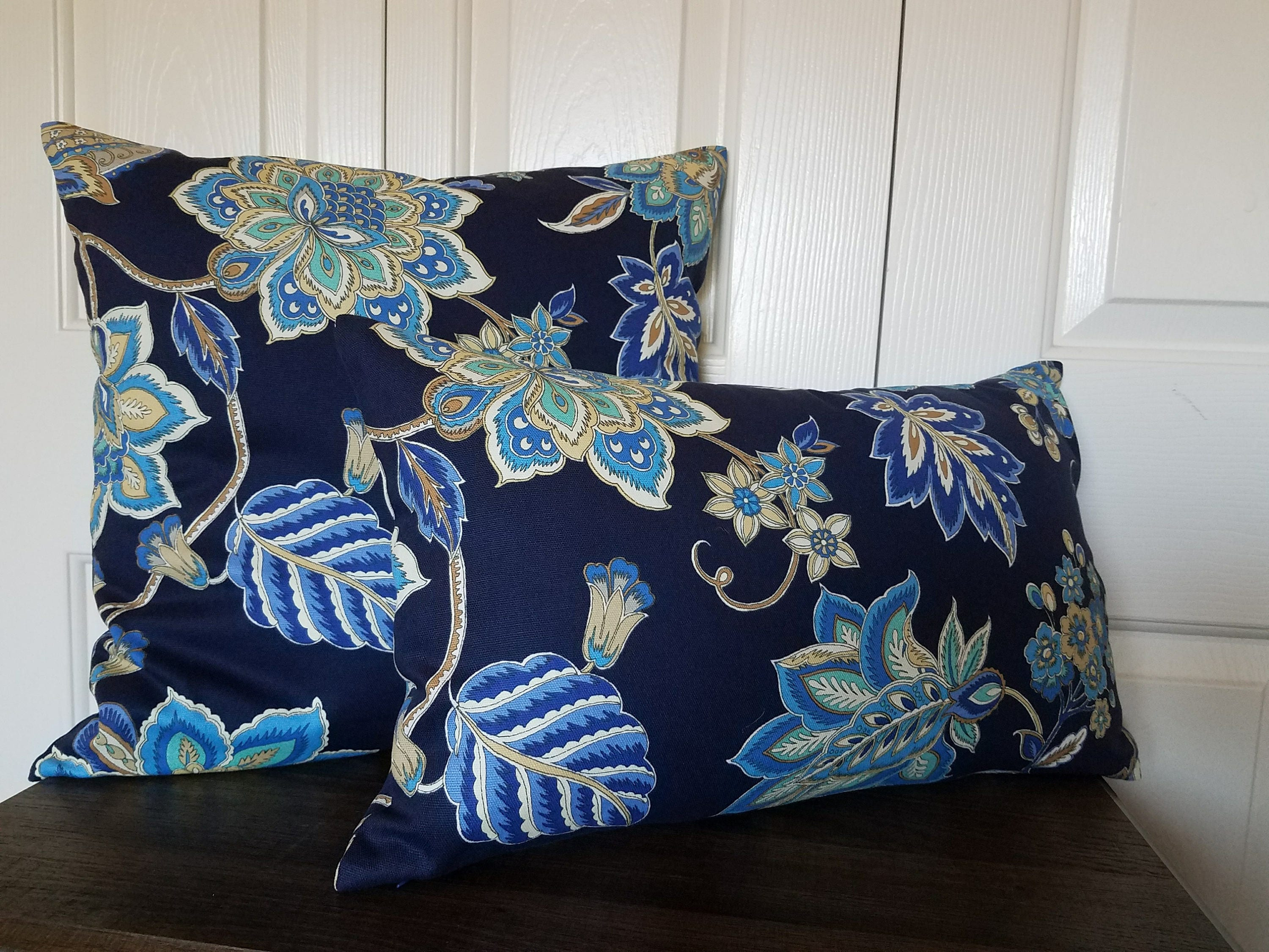 Blue Throw Pillow Cover.Pillow Covers.Navy Blue Beige Ivory