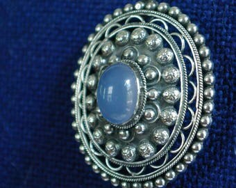 Sterling Silver Brooch from Italy with Blue Cabochon