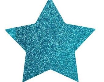10 X 9.5 cm Blue glittery star fusible pattern