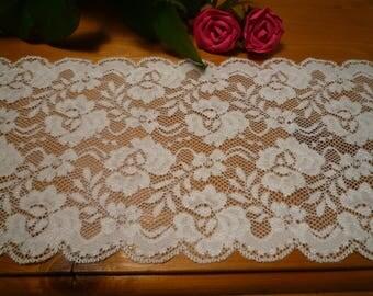White stretch lace 14 cm wide