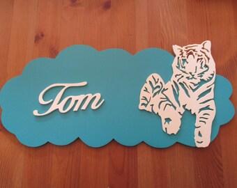 blue door with customizable Tiger