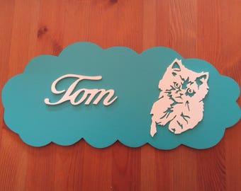 blue door with customizable kitten