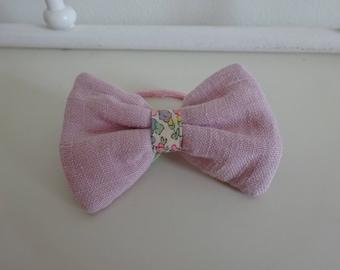 elastic bow pink liberty linen