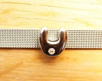 round letter bead bubble width aluminum U alphabet bracelet