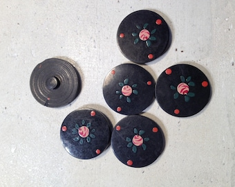 Lot 6 decorated black buttons