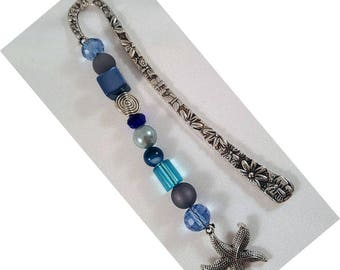 "Bookmark ""Flower"", approx. 122 x 12 mm, Altsilberfarben with blue beads and a starfish"