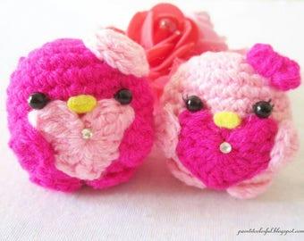 Amigurumi bird couple / kawaii amigurumi bird / amigurumi keychain / amigurumi love birds / amigurumi bag charms