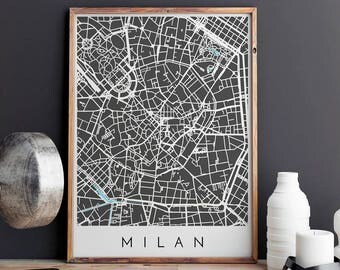 Milan Map Print, Milan Print, Milan Map, Milan Poster, Milan Art, Modern Map Print, Map of Milan, Milan City Map, City Map Print
