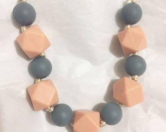 Handmade Silicone Bead Necklace Knotted in Pink and Grey for Mom Teether