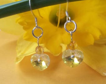 Sterling silver drop earrings with Swarovski crystal hearts and citrine detail