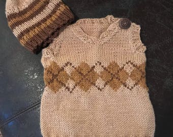 Hand knit baby boy argyle vest with coordinating hat in browns/gold 3 mos