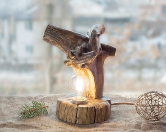 Wood lamp Driftwood lamp Rustic light Wood log lamp Natural light Wooden lamp Handcrafted light Rustic decor Natural wood lamp  Desk Light