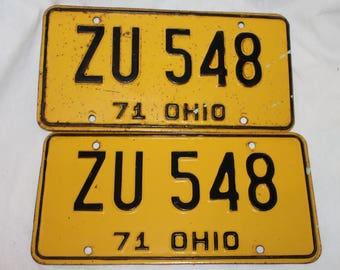 1971 Ohio Car license plates