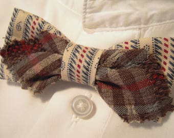 Stripes and plaid fabric bow