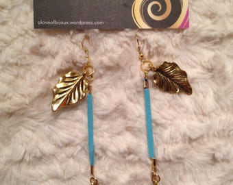 Earrings gold leaf on turquoise suede cord
