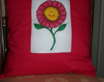 Hand silk-painted, hand embroidered cushion