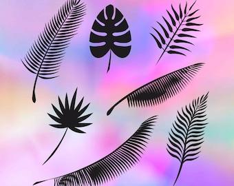 Palm leaves svg, palm svg, leaf svg, leaf svg file, tropical svg, palm dxf files, summer svg, svg silhouette files, svg files cricut, palm