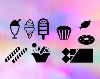 Sweets svg, candy svg, ice cream svg, chocolate svg, doughnuts svg, treats svg, Food svg, food, silhouette cameo, cricut files, dxf, png svg