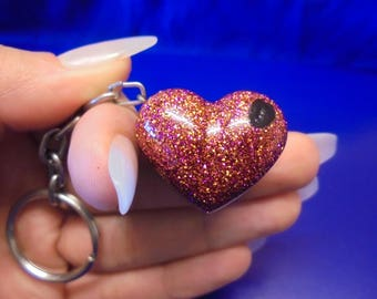 Love Heart/Glitter Resin/Key Ring/Sparkle/Love Zip charm.