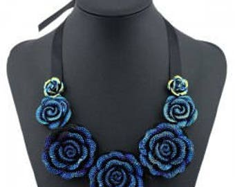 Rose Pendant Costume Necklace