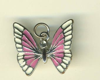 Pink and white enameled Butterfly pendant, 20/20 mm