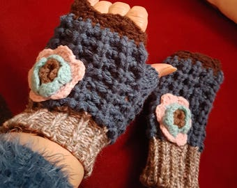 Knitted mittens in blue, Brown Heather with pink and blue flower on top