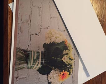 Set of 5 linen photo note cards