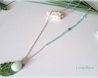 Asymmetrical necklace stone pendant with aquamarine and Amethyst bead