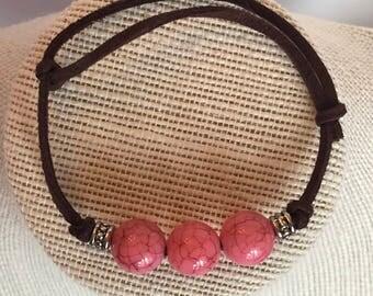 Pink Bead Bracelet, Adjustable Bracelet, Suede Cord Bracelet, Pink and Brown Bracelet