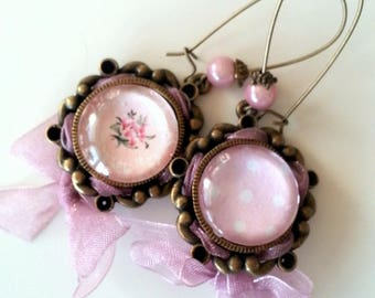 Large romantic earrings bronze and pink