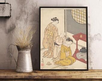 Suzuki Harunobu, Zashiki Hakkei, Night Rain at the Double-Shelf Stand, from the series Eight Parlor Views, ca. 1766, Art Print - Giclee