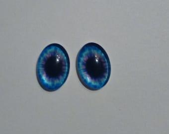 set of two blue eye cabochon