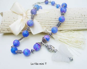 Jade beads and natural jade Butterfly pendant necklace