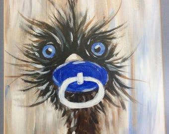 BABY BROTHER,  emu, original painting