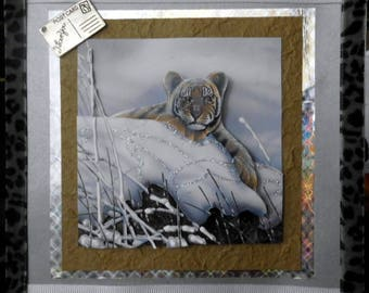"card 3D ""baby tiger in the snow"""