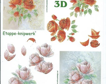 paper cutting for 3D pink flowers 5 cards