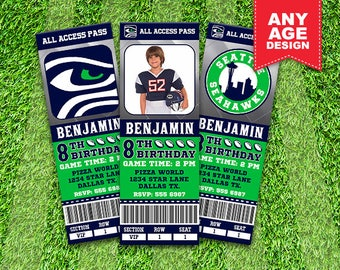 Seattle Seahawks Printable Ticket Invitation, Football Party, Seahawks Personalized Invite, Photo Invitation, Ticket Invitation, sport_05