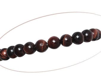 Set of 5 Tiger's eye beads, round, red coffee, 8 mm diameter, 1.5 mm hole