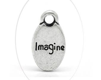 Set of 2 charms imagine oval, silver, 15 x 9 mm, thickness 3 mm, 2.5 mm hole