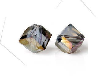 Set of 4 glass beads irregular, transparent multicolor, 5 x 5 mm, hole: 1.2 mm