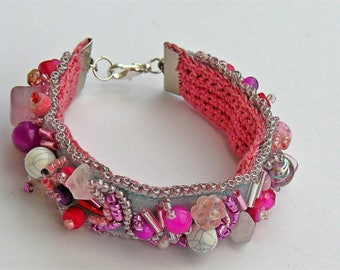 Embroidery on velvet Beads Bracelet