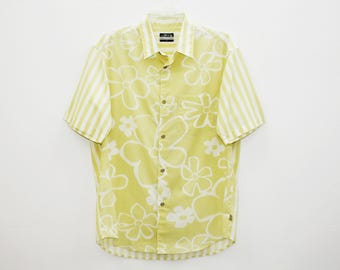 Stussy Authentic Floral Design Yellow Cotton Hawaiian Shirt Made in USA Size L