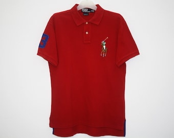 Polo by Ralph Lauren Big Logo Red Cotton Custom Fit Polo Shirt Size M