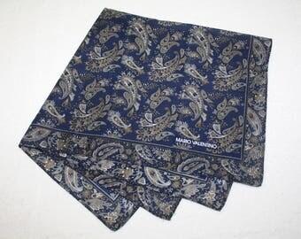 Mario Valentino Navy Blue Jacquard Handkerchief