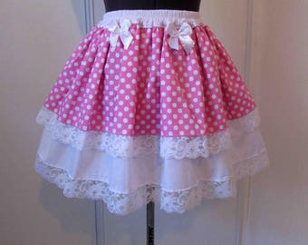 Pink kawaii dots skirt