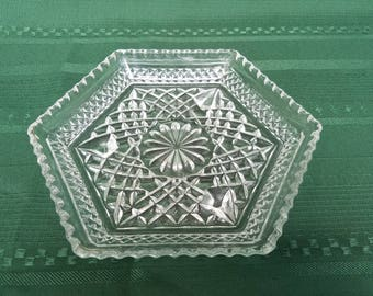 Wexford clear glass hexagonal footed plate made by ANCHOR HOCKING