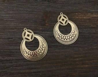 6 pcs prints fine 32x23mm Golden jewellery designs