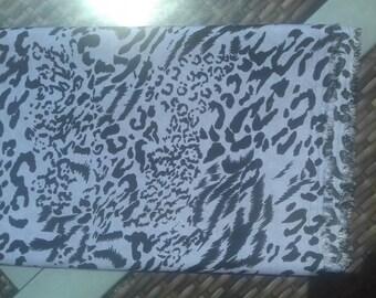 Lightweight viscose fabric blue purple and black animal print