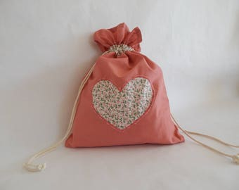 "Pink heart ""My little Babi - skiffs"" bag for cloth diapers and wipes liberty"