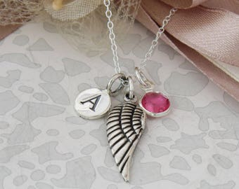 Sterling Silver Initial Birthstone Angel Wing Necklace, Infinity Necklace, Angel Wing, Infinity Jewelry,  Personalized Angel Wing Necklace